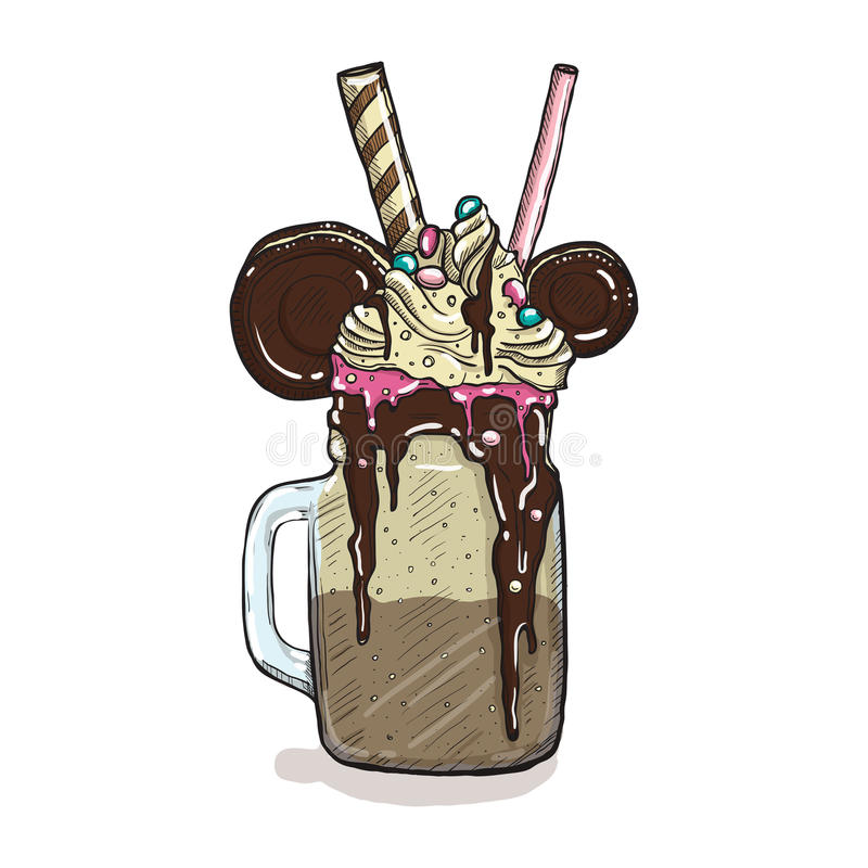 Cartoon Style Milkshake with cookies chocolate ice cream and candys. Hand Drawn Creative Dessert Isolated. Vector illustration vector illustration