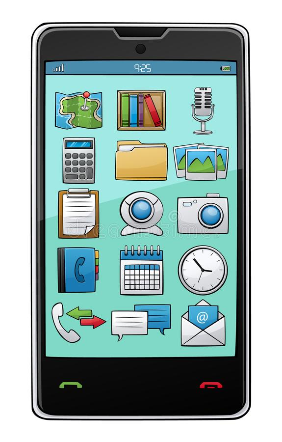Cartoon style mobile and app icons on transparent background. Cartoon style mobile and app icons on transparent background vector illustration vector illustration