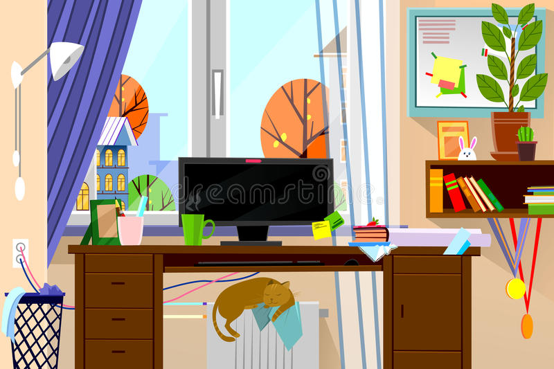 Download Cartoon Style Modern Web Site Illustration Of Freelance Work Place  In Living Room Interior.