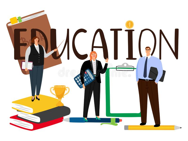 Cartoon style people man and woman education vector concept vector illustration