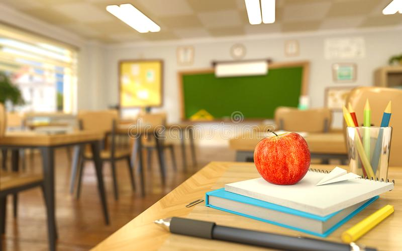 Cartoon style school elements - book, pen, pencils and red apple on desk in empty classroom. royalty free illustration
