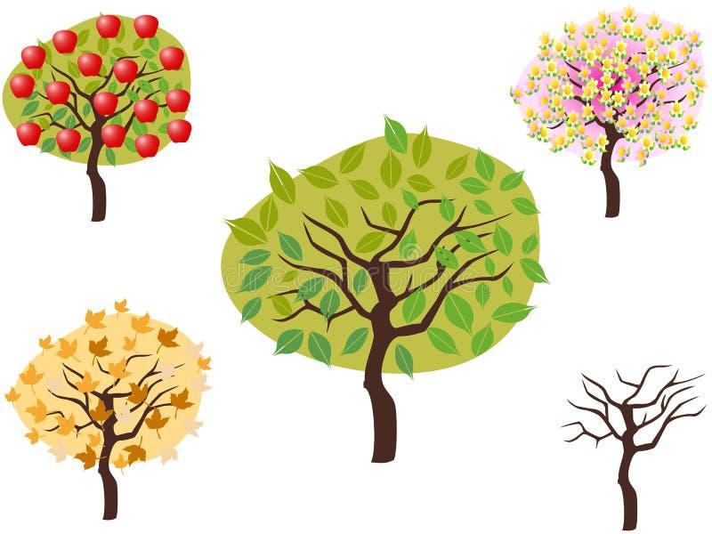 Cartoon Style Of Seasonal Trees Royalty Free Stock Photo