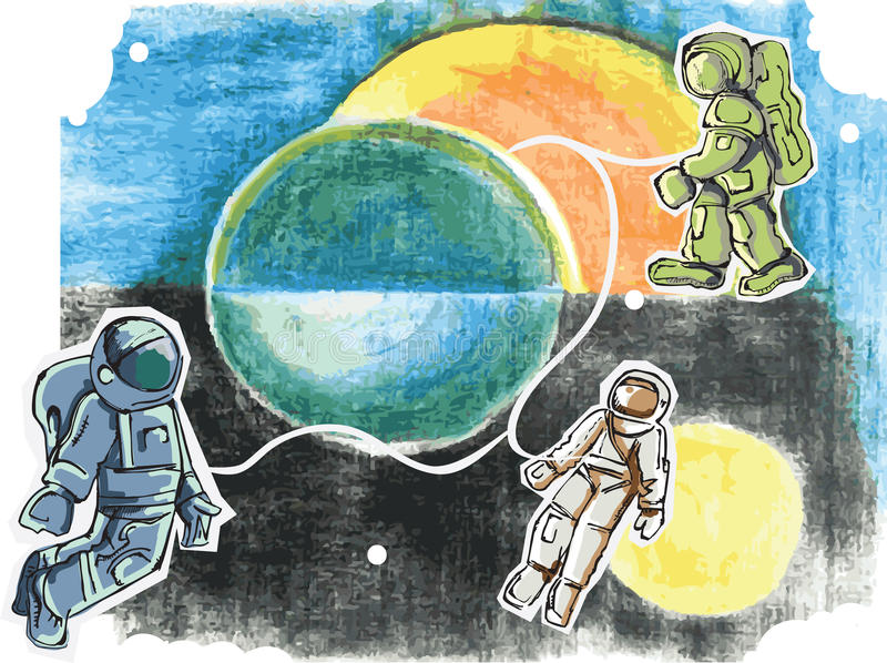 Cartoon style spacemen. And pastel background , illustration royalty free illustration