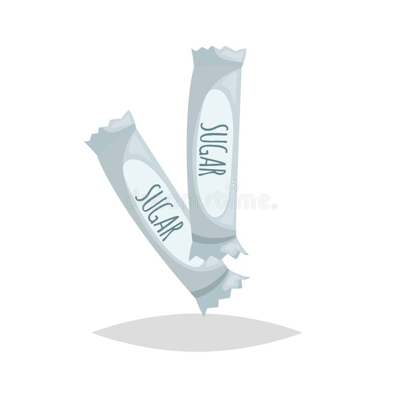 Cartoon style sugar sachets. Paper sugar sticks with signs. Coffee and tea menu design component. Vector illustrations stock illustration