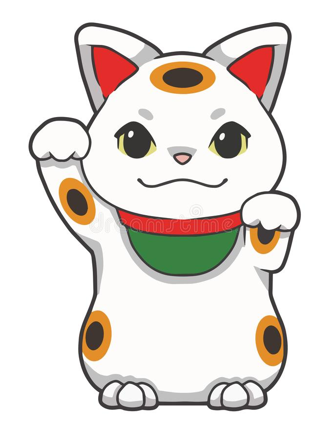 Cartoon style vector illustrations of a traditional Japanese so called `Maneki Neko` winking lucky cat with one arm raised stock illustration