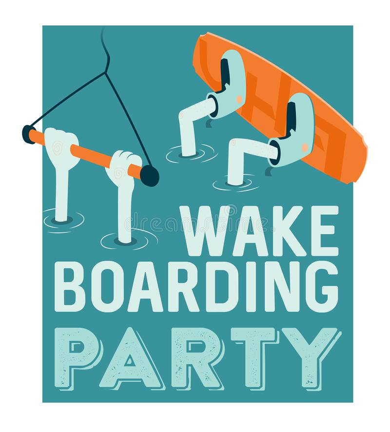 Wake boarding lessons poster. Cartoon style wake boarding lessons poster vector illustration