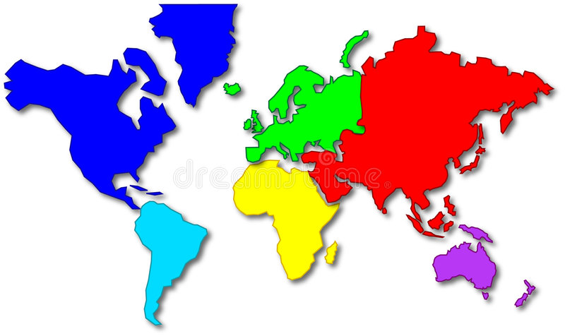 Cartoon style world map vector illustration