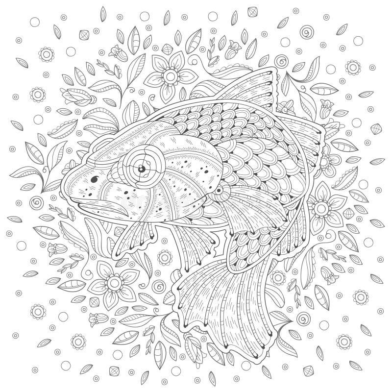 cartoon stylized atlantic сod fish hand drawn decorated cartoon cod white background algae image coloring pages