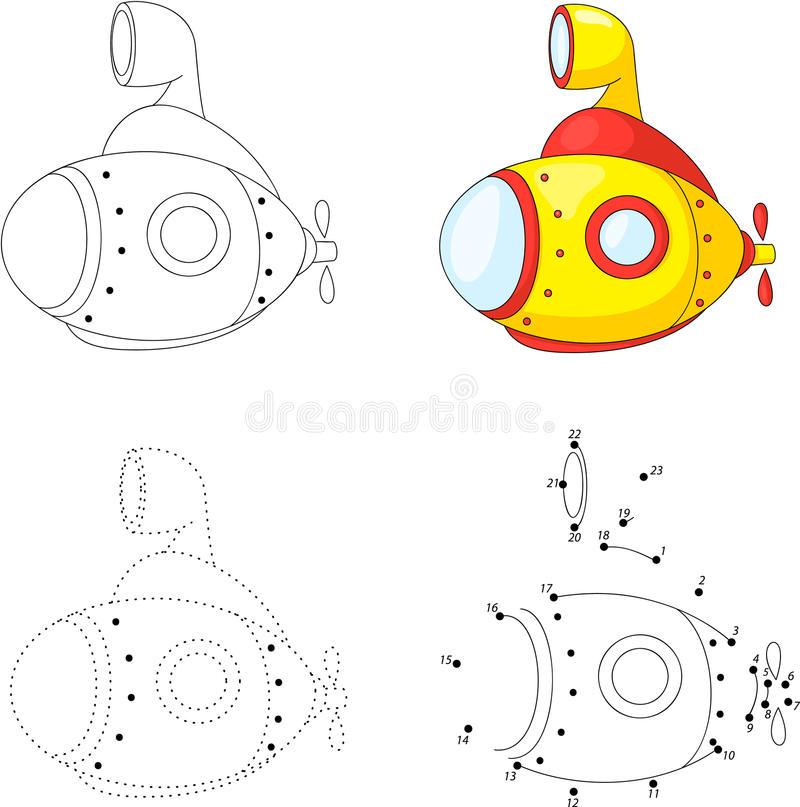 Cartoon submarine. Dot to dot game for kids stock illustration