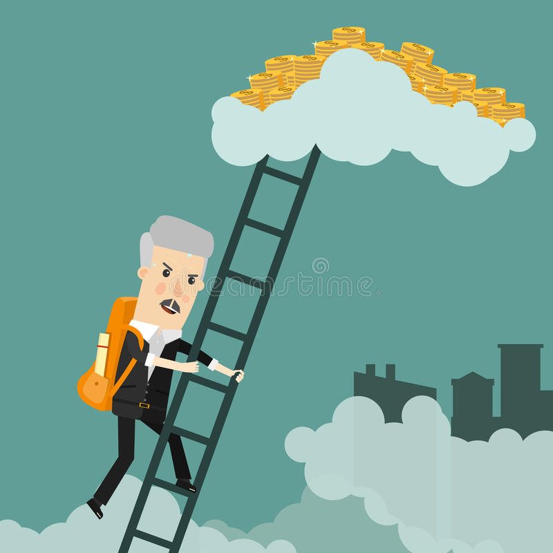 Cartoon successful businessman climbing to stacks of golden coins. Success, wealth or fast money concept design royalty free illustration
