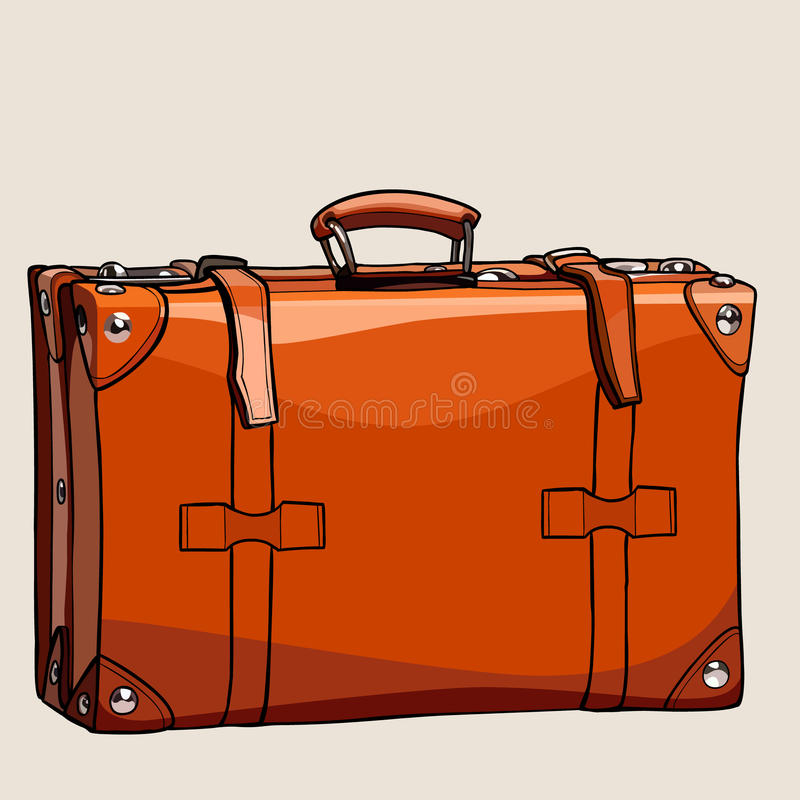 Cartoon suitcase from brown leather with rivets. Cartoon retro suitcase from brown leather with rivets vector illustration