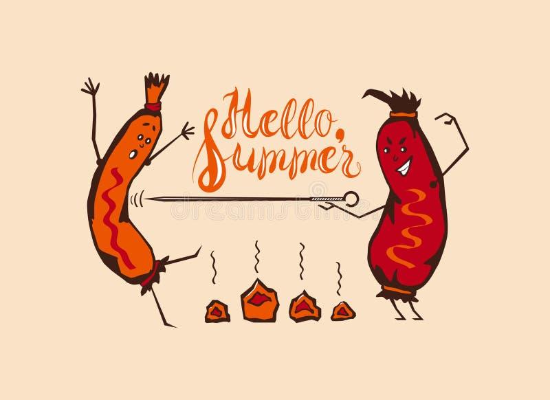 Cartoon Summer BBQ. Vector Cartoon Funny Summer barbecue, fencing sausages stock illustration