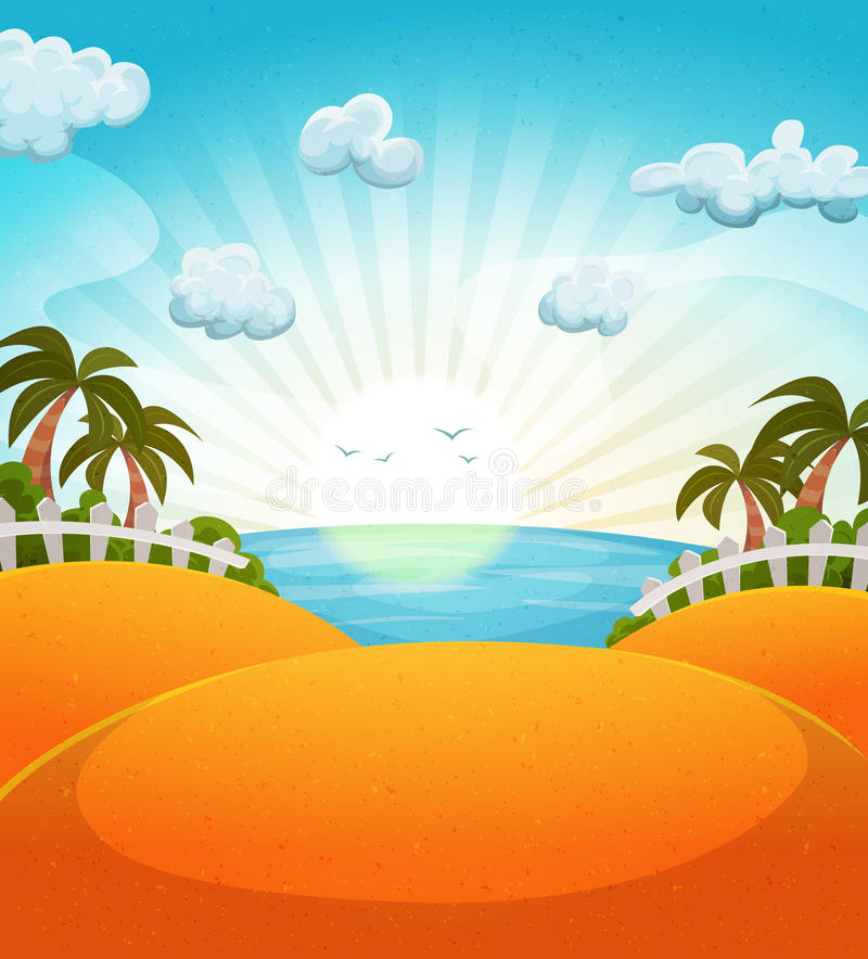 Cartoon Summer Beach Landscape stock illustration