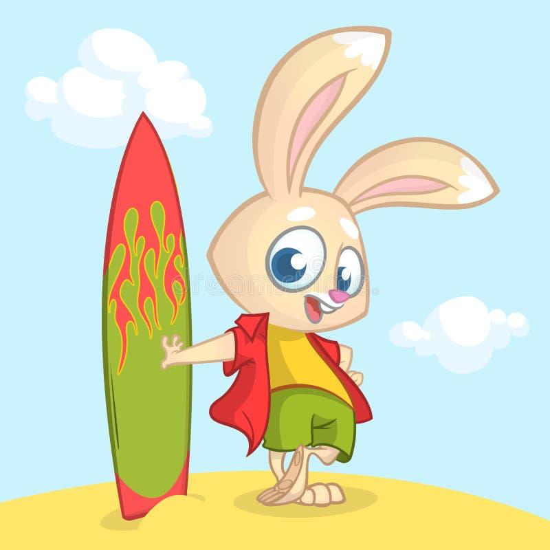 Cartoon summer holiday background with rabbit surfer. Vector illustration stock illustration