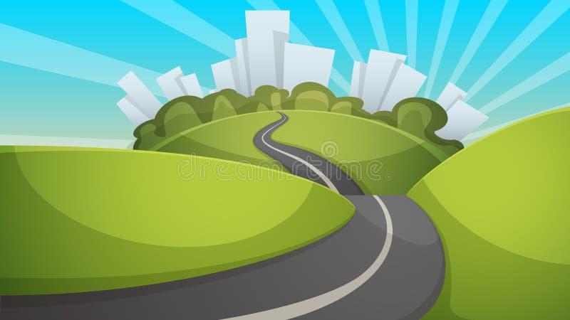 Cartoon summer landscape. City, hill, road illustration. Cartoon summer landscape. City, hill, road illustration Vector eps 10 vector illustration
