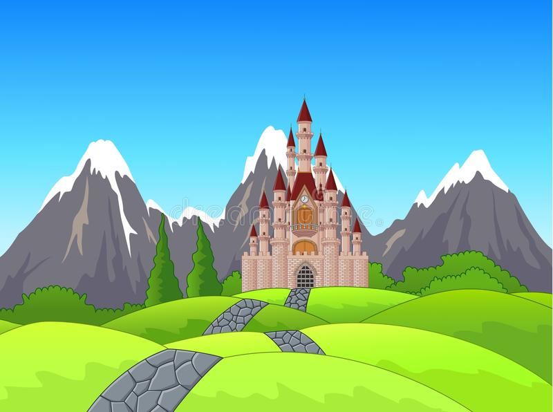 Cartoon Summer landscape with green grass, road and castle stock illustration