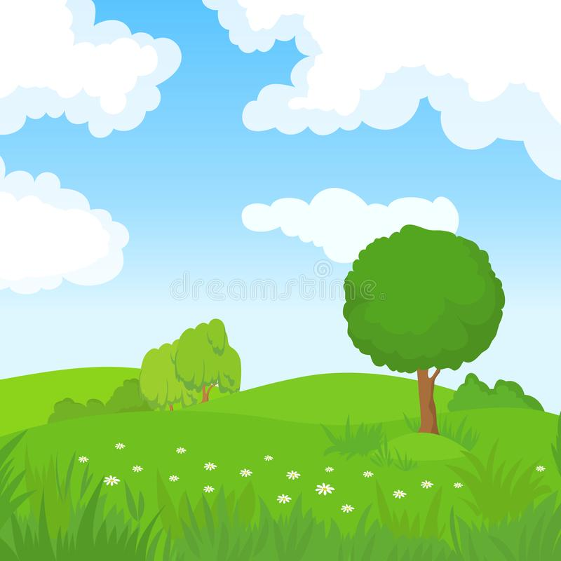 Cartoon summer landscape with green trees and white clouds in blue sky. Forest park panoramic vector background. Summer green park, nature landscape, field royalty free illustration