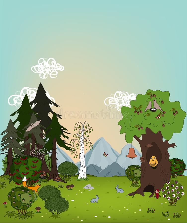 Cartoon summer landscape with trees, meadows and mountains. Beautiful lawn in the wood, kids vector background. Cartoon summer landscape with trees, animals stock illustration