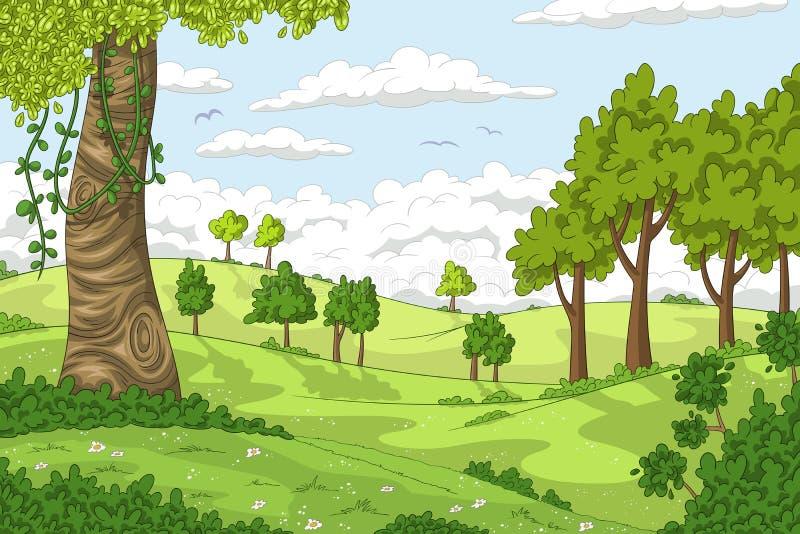 Cartoon Summer Landscape stock illustration