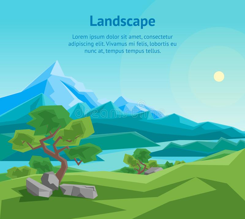 Download Cartoon Summer Mountain And River On A Landscape Background Card Poster Vector Stock