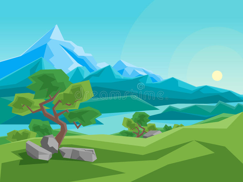 Cartoon Summer Mountain and River on a Landscape Background. Vector royalty free illustration