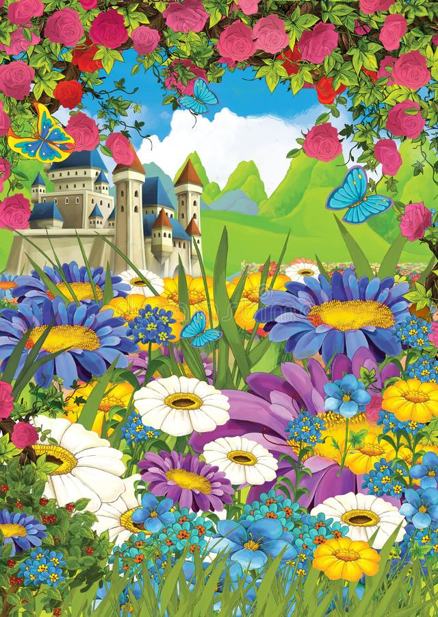 Cartoon summer scene castle on the meadow with roses - nobody on scene. Illustration for children royalty free illustration