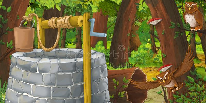 Cartoon summer scene with deep forest and bird owl with water well. Illustration for children stock illustration