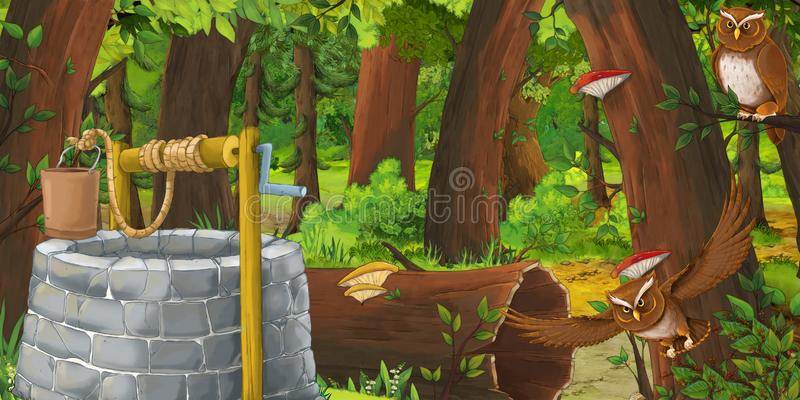 Cartoon summer scene with deep forest and bird owl with water well. Illustration for children vector illustration