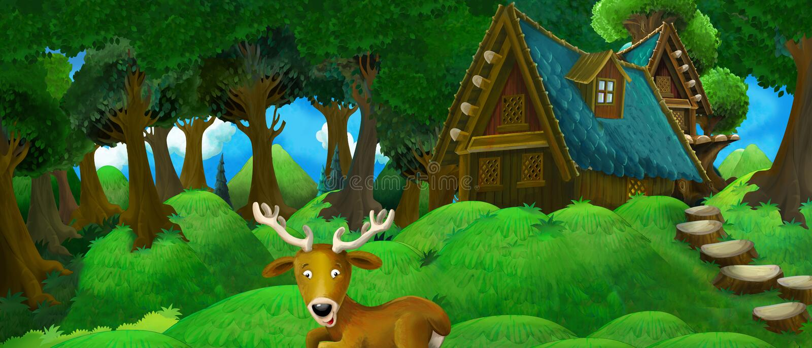 Cartoon summer scene with farm house in the forest with happy deer vector illustration