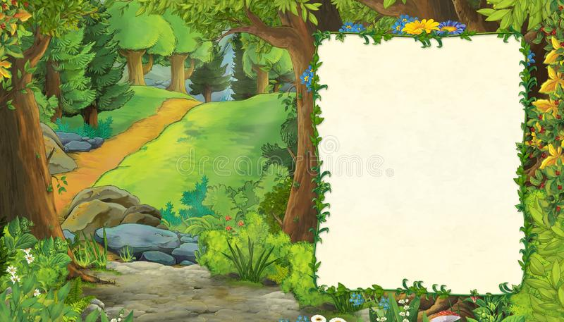 Cartoon summer scene with meadow in the forest stock illustration