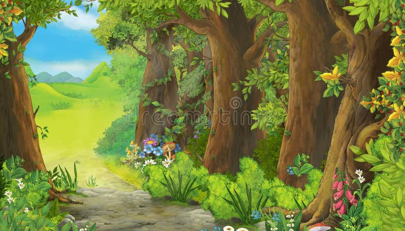 Cartoon summer scene with meadow in the forest royalty free illustration