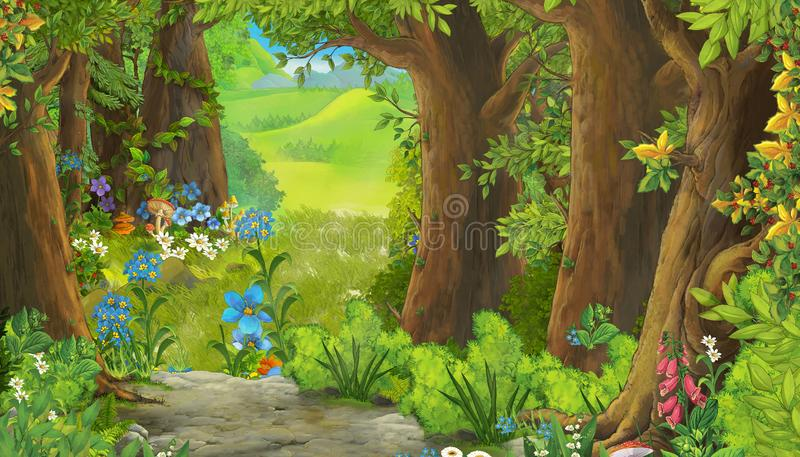 Cartoon summer scene with meadow in the forest vector illustration