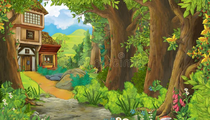 Cartoon summer scene with meadow in the forest with wooden farm house illustration for children stock illustration