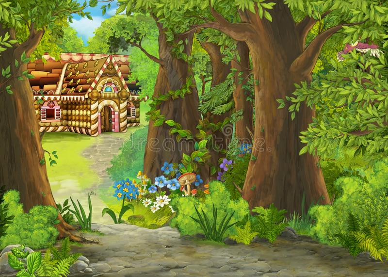 Cartoon summer scene with path in the forest to some house made out of sweets - nobody on scene - illustration for children royalty free illustration