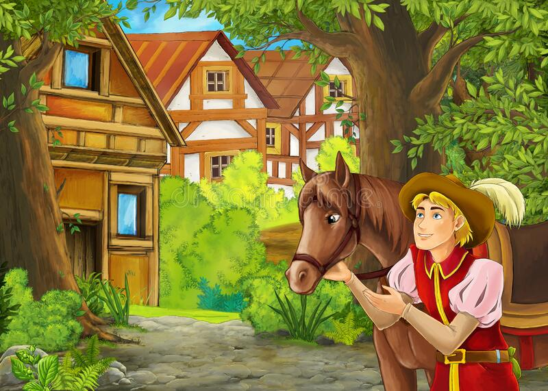 Cartoon nature scene with prince and his horse in journey stock photo