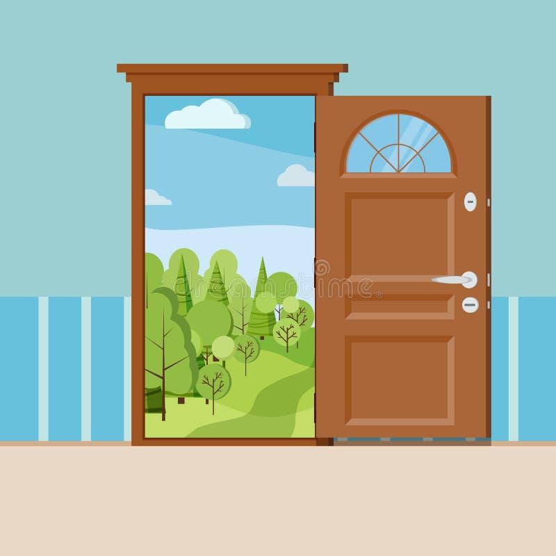 Cartoon summer or spring forest landscape wood door view stock illustration