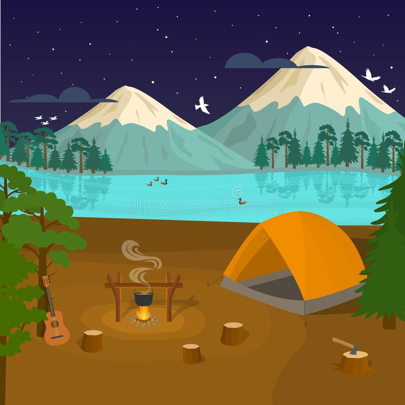 Cartoon Summer Tourist Camp Card Poster. Vector vector illustration