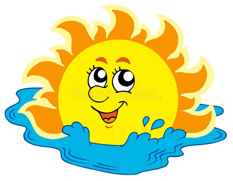 Download Cartoon Sun bathing in sea stock vector. Image of eyes - 9708333