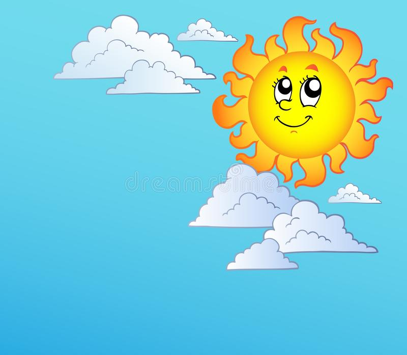Download Cartoon Sun With Clouds On Blue Sky Stock Vector - Illustration of meteorology, smile: 16836384