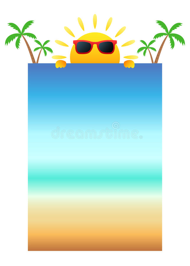 Cartoon sun with glasses holding a blank banner stock illustration