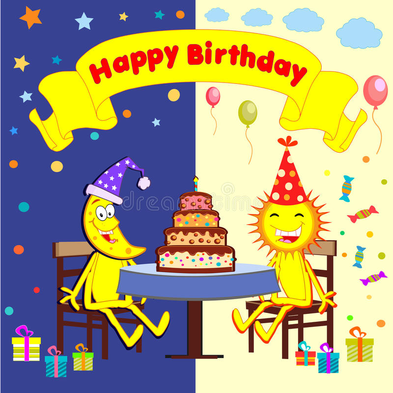 Cartoon sun and moon celebrate a birthday. Holidays. Vector children's illustration royalty free illustration