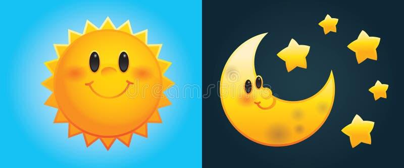 Cartoon sun and moon. Day and Night: Cute cartoon sun and moon with stars stock illustration