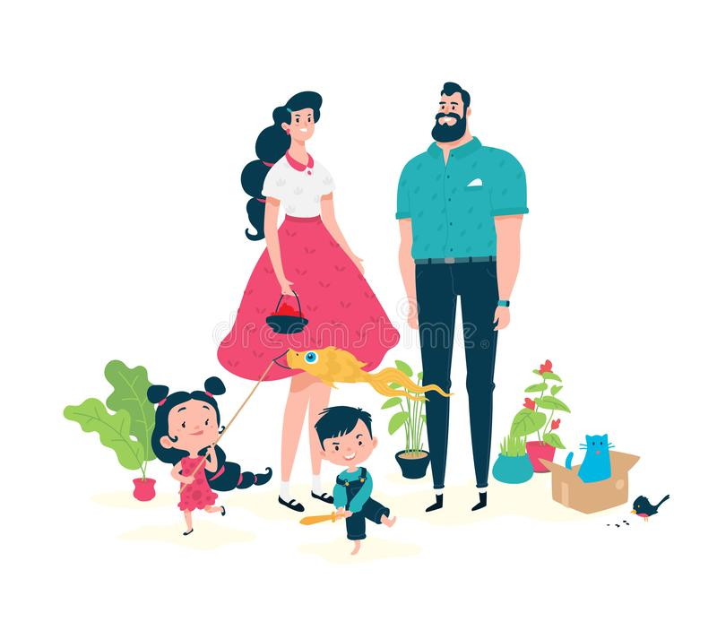 Cartoon sunflower seed having fun. Vector. Illustration of funny characters dad, mom and kids. Heroes for a toy store. Flat style. vector illustration