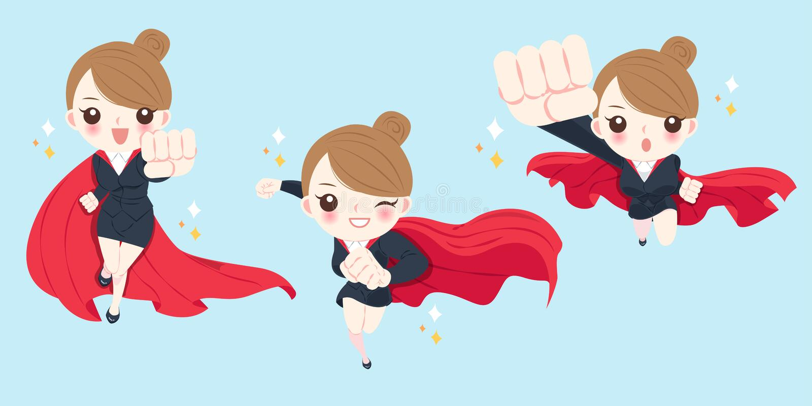 Cartoon super businesswoman stock illustration