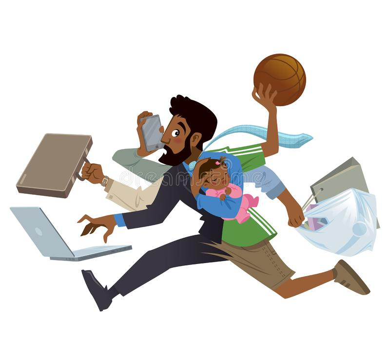 Cartoon super busy black man and father multitasking in work. Cartoon super busy black man and father multitask doing many works running to the office shopping stock illustration