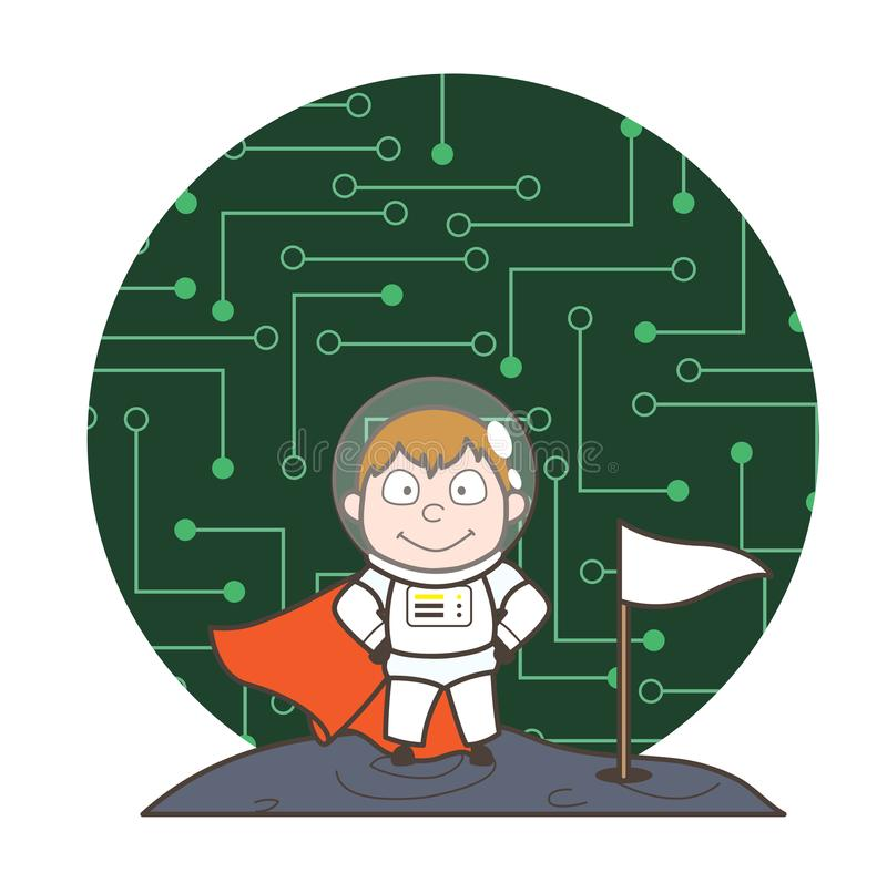Cartoon Super Hero Astronaut with Chipset Background Vector stock illustration