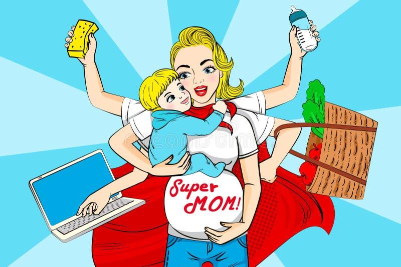 Cartoon super mom vector illustration