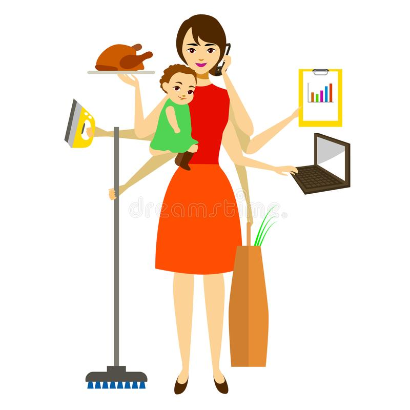 Cartoon Super Mom Concept Character. Vector. Cartoon Super Mom Concept Character Mother with Baby Busy Cooking, Housewife, Work, Cleaning Element Flat Design vector illustration