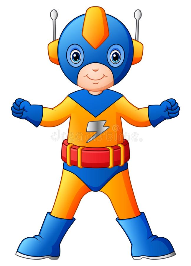 Cartoon superhero boy royalty free illustration