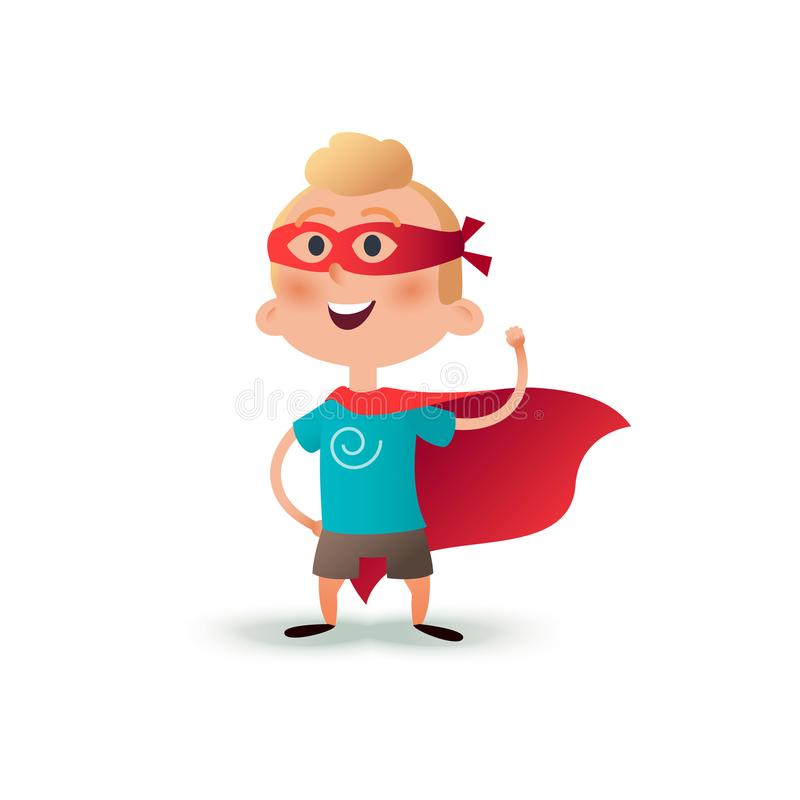 Cartoon superhero boy standing with cape waving in the wind. Happy little hero kid. Children character in red supermen. Cloak and carnival mask royalty free illustration
